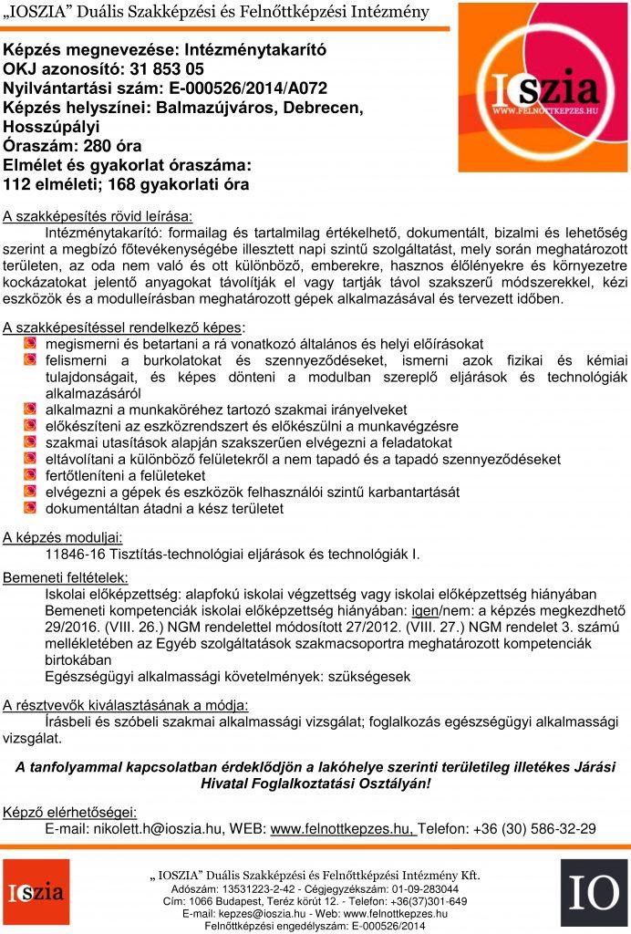 Intézménytakarító OKJ - Balmazújváros - Debrecen - Hosszúpályi - Felnőttképzés - felnottkepzes.hu - IOSZIA