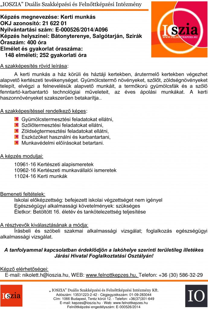 Kerti munkás OKJ - Bátonyterenye - Salgótarján - Szirák - felnottkepzes.hu - Felnőttképzés - IOSZIA